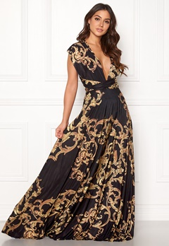 Goddiva Multi Tie Maxi Dress Baroque Print Bubbleroom.eu