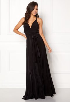 Goddiva Multi Tie Maxi Dress Black Bubbleroom.eu