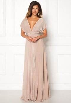 Goddiva Multi Tie Maxi Dress Latte Bubbleroom.eu