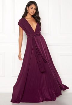 Goddiva Multi Tie Maxi Dress Plum Bubbleroom.eu