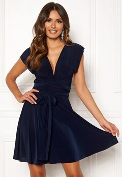 Goddiva Multi Tie Skater Dress Navy Bubbleroom.eu