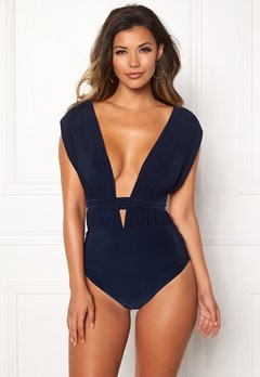 Goddiva Multi Tie Swimsuit Navy Bubbleroom.eu