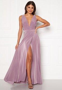 Goddiva Multi Tie Wrap Maxi Dress Dusty Lavendel Bubbleroom.eu