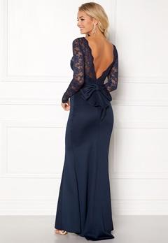 Goddiva Open Back Lace Dress Navy Bubbleroom.eu