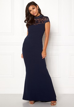Goddiva Open Back Lace Maxi Dress Navy Bubbleroom.eu