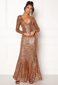Goddiva Open Back Sequin Dress Champagne Bubbleroom.eu
