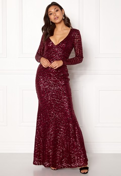 Goddiva Open Back Sequin Dress Wine Bubbleroom.eu