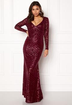 Goddiva Open Back Sequin Dress Wine Bubbleroom.eu