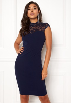 Goddiva Open Lace Midi Lace Dress Navy Bubbleroom.eu