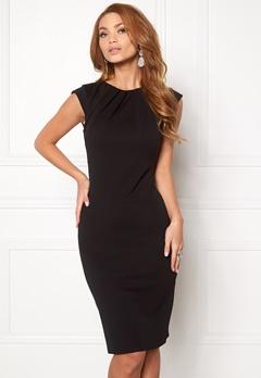 Goddiva Pleated Neckline Dress Black 1 Bubbleroom.eu