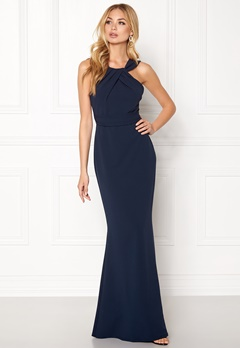 Goddiva Pleated Neckline Maxi Navy Bubbleroom.eu