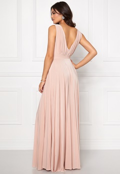 Goddiva Pleated Oscar Dress Nude Bubbleroom.eu