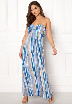 Goddiva Resort Bandeau Maxi Dress Blue Multi Bubbleroom.eu