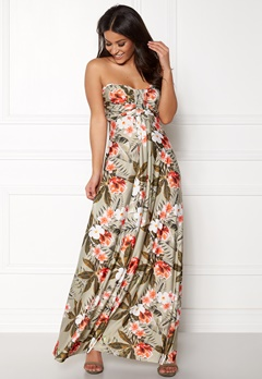 Goddiva Resort Bandeau Maxi Dress Tropical Print Bubbleroom.eu