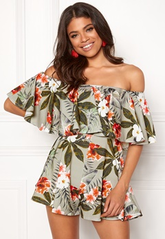 Goddiva Resort Bardot Frill Playsuit Tropical Print Bubbleroom.eu