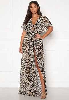 Goddiva Resort Chiffon Maxi Kaftan Animal Print Bubbleroom.eu