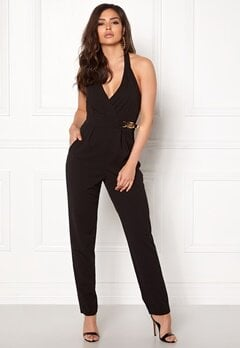 Goddiva Resort Gold Buckle Jumpsuit Black Bubbleroom.eu