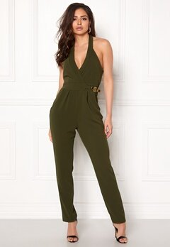 Goddiva Resort Gold Buckle Jumpsuit Khaki Bubbleroom.eu