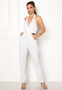 Goddiva Resort Gold Buckle Jumpsuit White Bubbleroom.eu