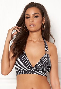 Goddiva Resort Halterneck Bikini Top Abstract Stripe Bubbleroom.eu