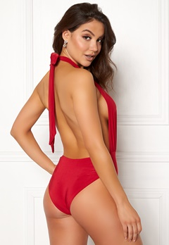 Goddiva Resort Halterneck Swimsuit Red Bubbleroom.eu