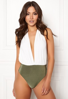 Goddiva Resort Halterneck Swimsuit White/khaki Bubbleroom.eu