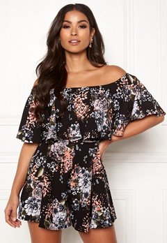 Goddiva Resort Mille Frill Playsuit Black Floral Bubbleroom.eu