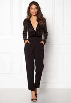 Goddiva Sequin Bodice Jumpsuit Black Bubbleroom.eu