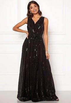 Goddiva Sequin Chiffon Maxi Dress Black Bubbleroom.eu