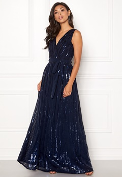 Goddiva Sequin Chiffon Maxi Dress Navy Bubbleroom.eu