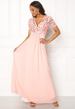 Goddiva Sequin Chiffon Maxi Dress Nude Bubbleroom.eu