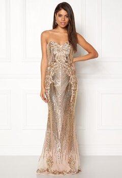 Goddiva Sequin Embroidered Dress Gold Bubbleroom.eu