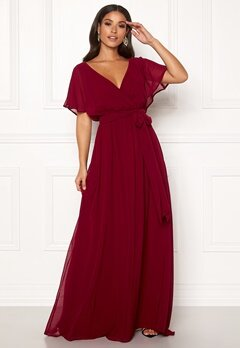 Goddiva Sleeve Chiffon Maxi Dress Berry Bubbleroom.eu