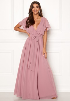 Goddiva Sleeve Chiffon Maxi Dress Lavender Bubbleroom.eu