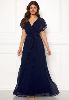 Goddiva Sleeve Chiffon Maxi Dress Navy Bubbleroom.eu
