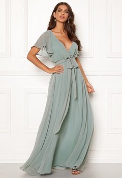 Goddiva Sleeve Chiffon Maxi Dress Sage Green Bubbleroom.eu