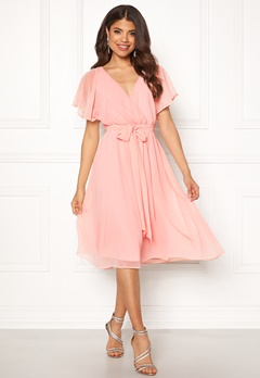 Goddiva Sleeve Chiffon Midi Dress Soft Pink Bubbleroom.eu