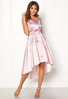 Goddiva Sleeveless High Low Dress Pink Satin Print Bubbleroom.eu