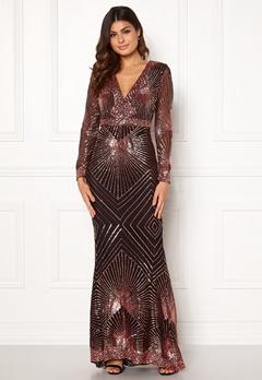 Goddiva Starburst Sequin Dress Black/gold Bubbleroom.eu