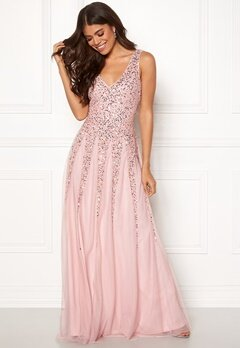 Goddiva Sunray Sequin Maxi Dress Blush Bubbleroom.eu