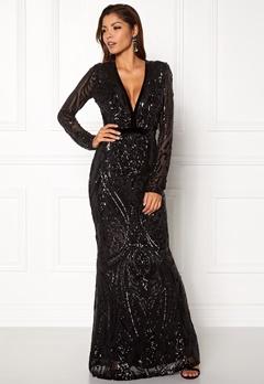 Goddiva V Neck Embroidered Dress Black Bubbleroom.eu