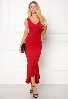 Goddiva V Neck Pleated Peplum Red Bubbleroom.eu