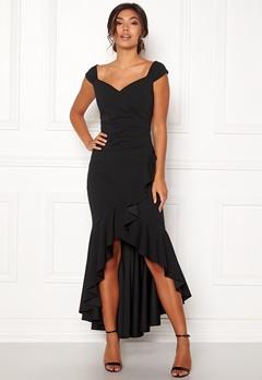 Goddiva Wrap Front Frill Dress Black Bubbleroom.eu