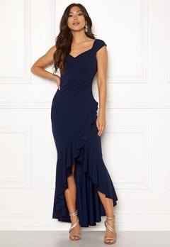 Goddiva Wrap Front Frill Dress Navy Bubbleroom.eu