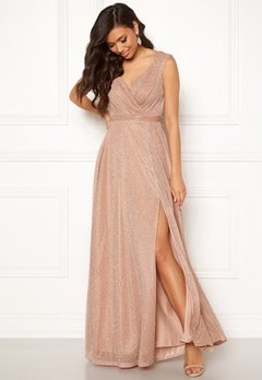 Goddiva Wrap Front Maxi Dress Nude Bubbleroom.eu