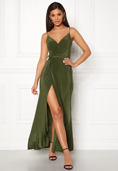 Goddiva Wrap Front Maxi Dress Olive Bubbleroom.eu