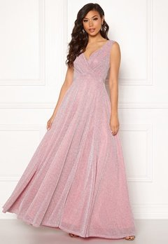 Goddiva Wrap Front Maxi Dress Pink Bubbleroom.eu