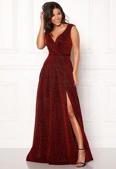 Goddiva Wrap Front Sleeve Dress Red Bubbleroom.eu