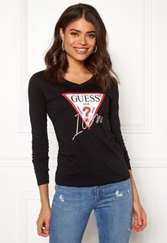 Guess LS VN Icon Tee Jet Black Bubbleroom.eu