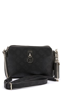 Guess Ninnette DBL Zip Crossbody BlacK Bubbleroom.eu